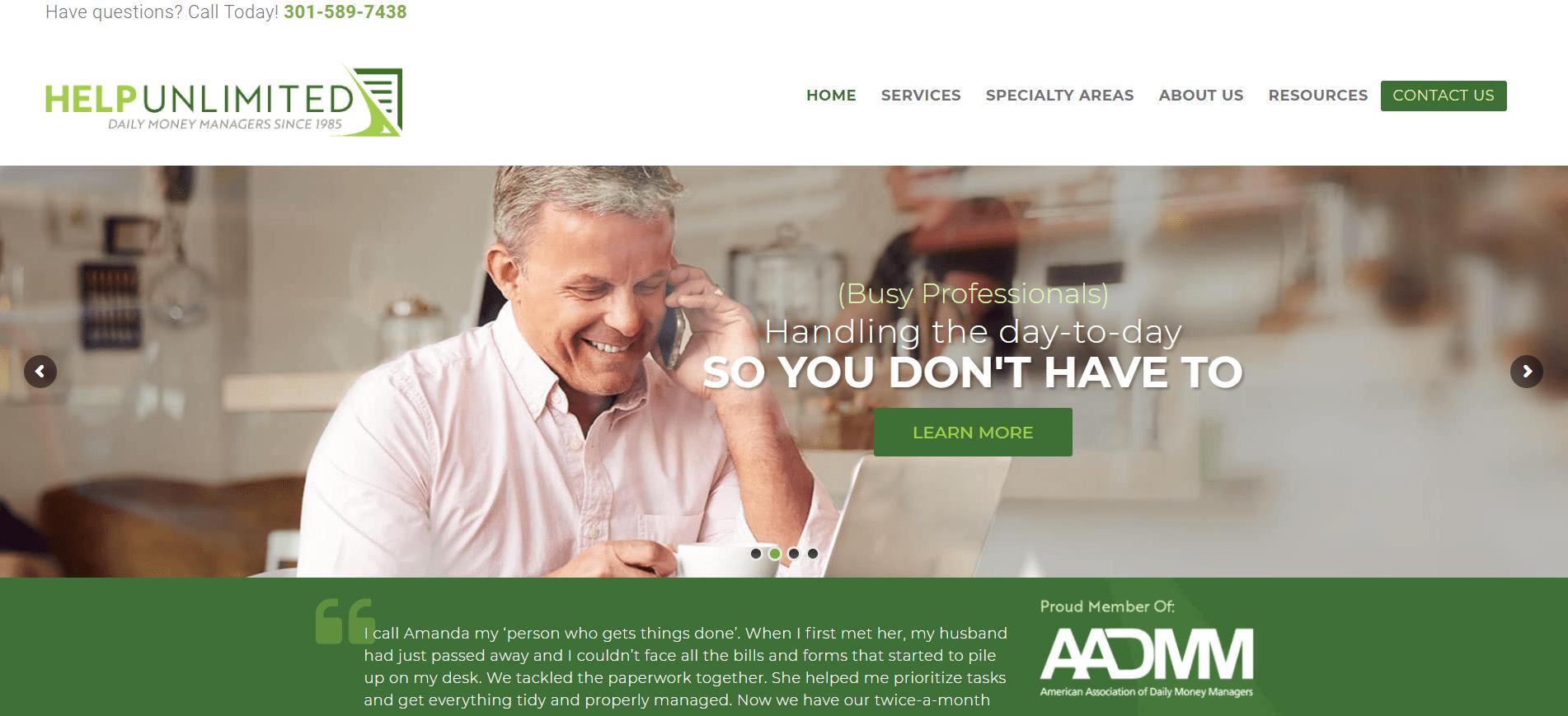 Help Unlimited Homepage Screenshot