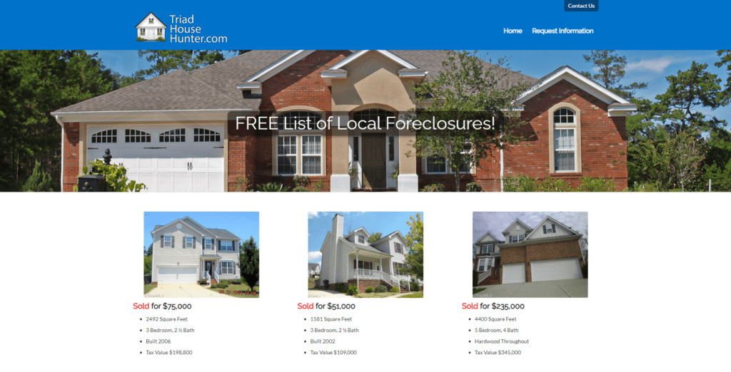 Triad House Hunter Website Homepage