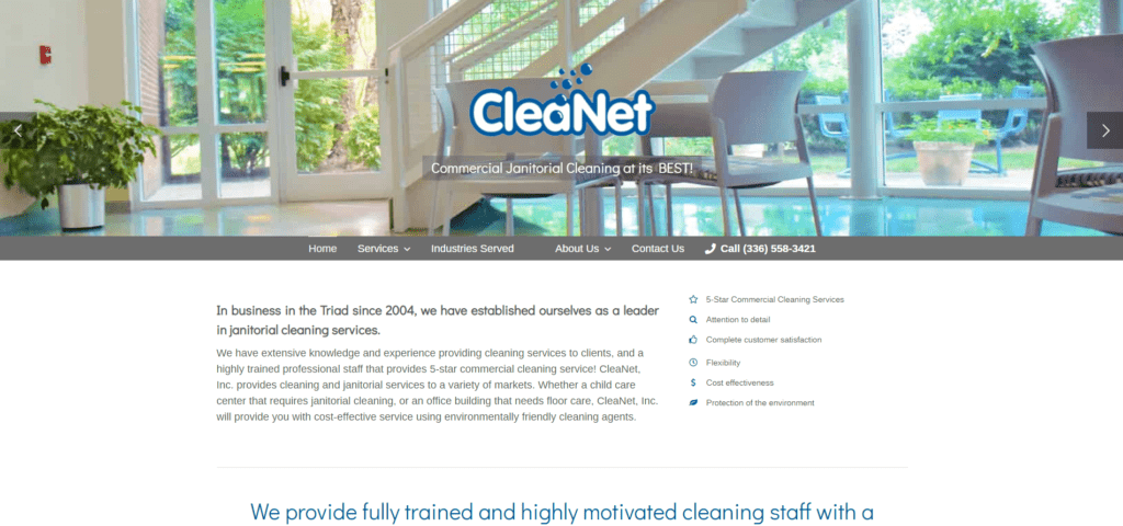 Cleanet Inc Homepage Screenshot