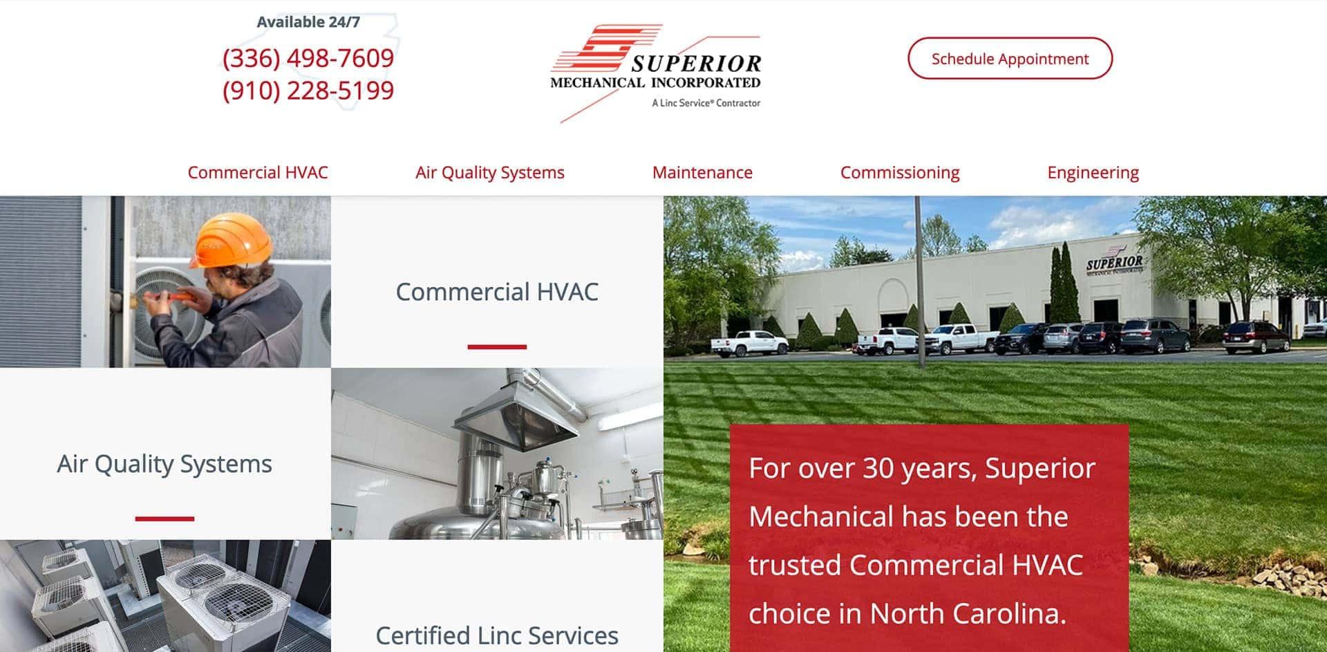 Superior Mechanical Homepage Screenshot